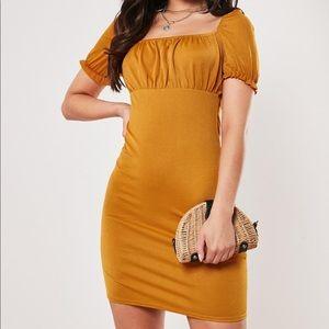 Mustard Milkmaid Bodycon Mini Dress